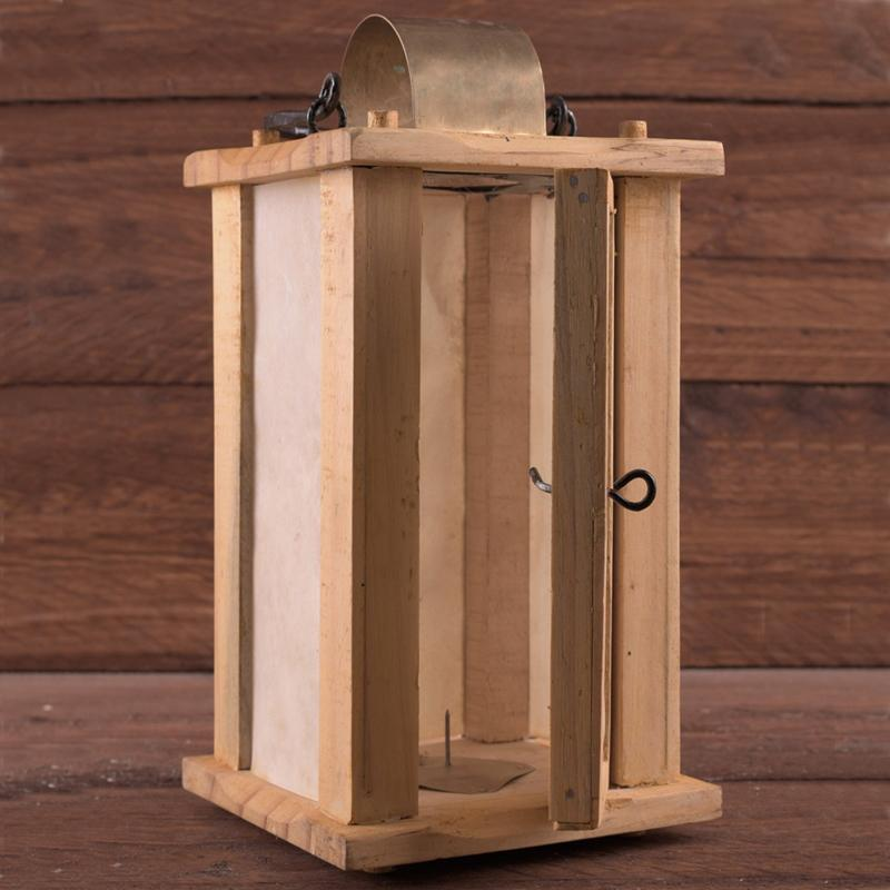 Wooden Lantern with parchment windows The Time Seller