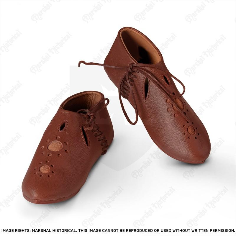 13th C. crossbowman cutwork shoes - Brown The Time Seller