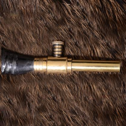 Powder Horn with brass shut-off valve and leather strap The Time Seller