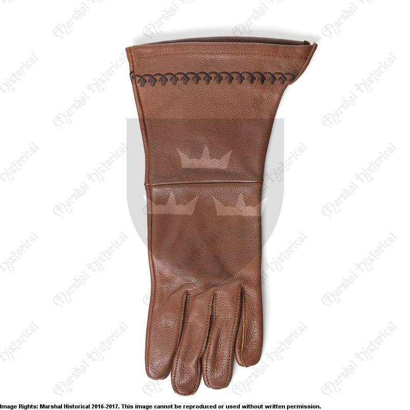Brown embroidered gloves The Time Seller
