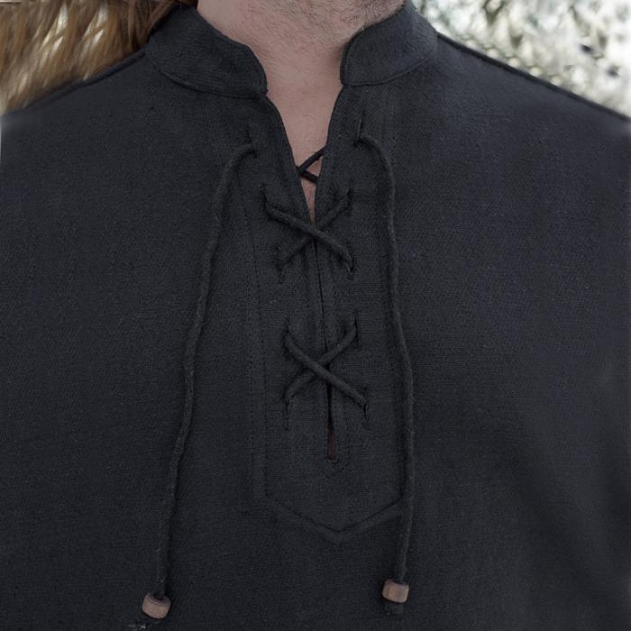 Camisa medieval gruesa, negro The Time Seller